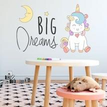 Stickers muraux phrase de licorne