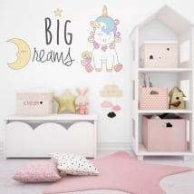Stickers muraux licorne gros rêves