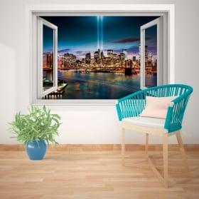 Stickers muraux fenêtre New York 3D