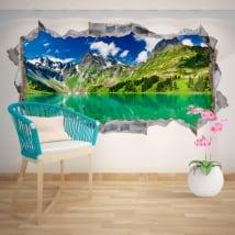 Vinyle décoratif lac et montagnes enneigées 3D