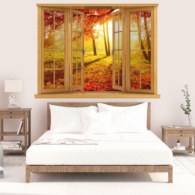 Vinyle crépuscule arbres d'automne fenêtre 3D