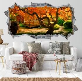 Vinyle murs jardin arbre Asiatique 3D