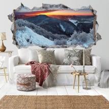 Vinyle décoratif lever du soleil dans les montagnes 3D