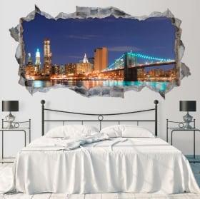 Vinyle skyline New York Brooklyn pont 3D