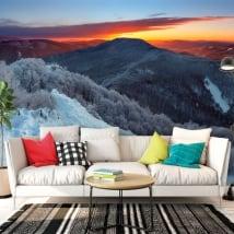 Papiers peints muraux lever du soleil dans les montagnes
