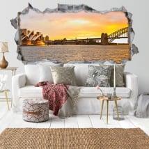 Vinyle coucher du soleil baie de Sydney 3D