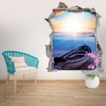 Stickers muraux plage au coucher du soleil 3D