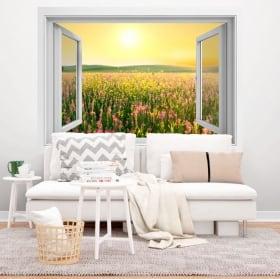 Vinyle fenêtre champ de fleurs coucher de soleil 3D