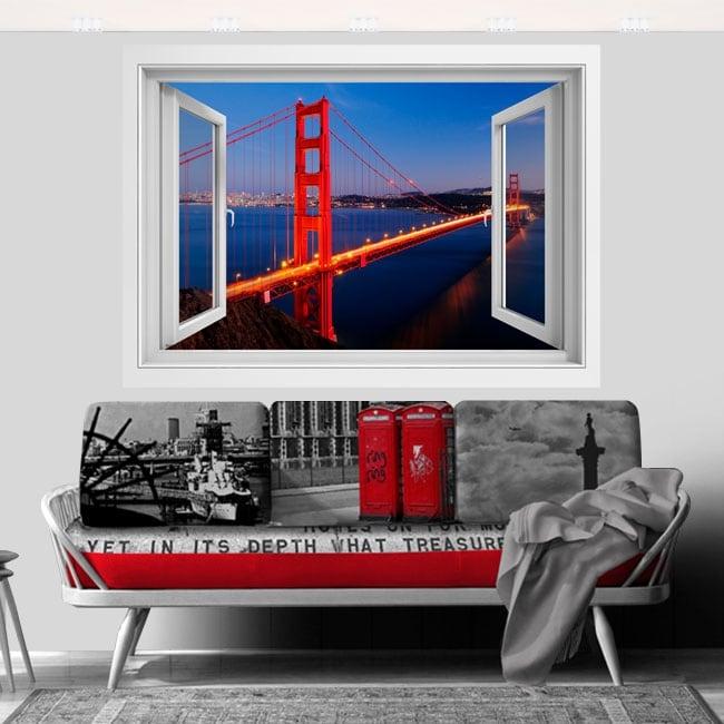 Vinyle pont Golden Gate fenêtre 3D