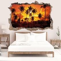 Vinyle décoratif soleil et palmiers sur la plage 3D