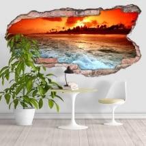 Vinyle plage au coucher du soleil 3D