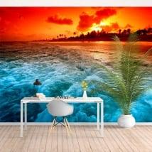 Papiers peints palmiers coucher de soleil sur la plage