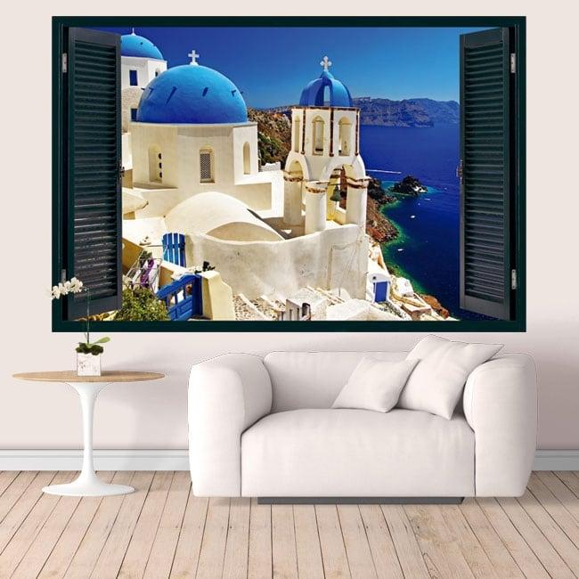 Vinyle Grèce Santorin fenêtre 3D