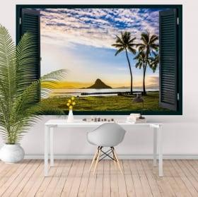 Vinyle décoratif coucher de soleil à Hawaii fenêtre 3D