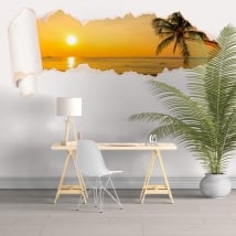 Vinyle coucher de soleil plage papier déchiré 3D