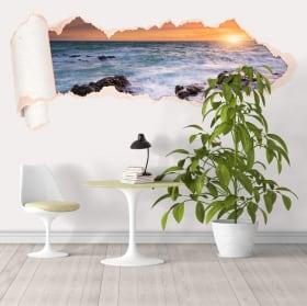 Vinyle 3D coucher de soleil sur la mer papier déchiré