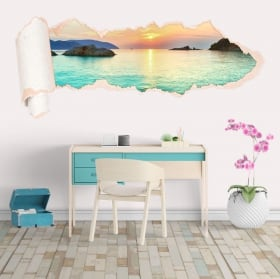 Vinyle plages du lever du soleil Vietnam papier déchiré 3D