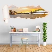Vinyle coucher de soleil baie de Sydney papier déchiré 3D