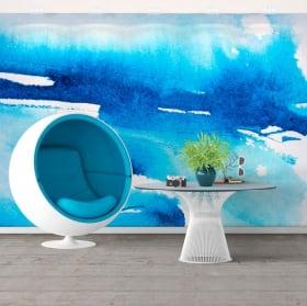 Papiers peints en vinyle peinture bleue