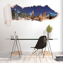 Vinyle skyline de New York papier déchiré 3D