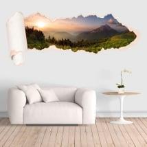 Vinyle montagnes coucher de soleil papier déchiré 3D