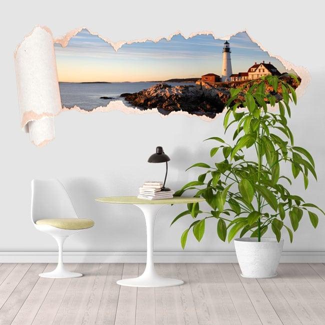 Vinyle côte du phare Portland Maine papier déchiré 3D