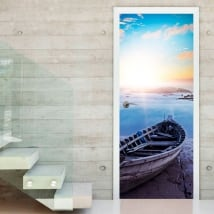 Vinyle pour les portes coucher de soleil sur la plage