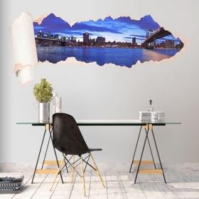 Vinyle panoramique Manhattan papier déchiré 3D