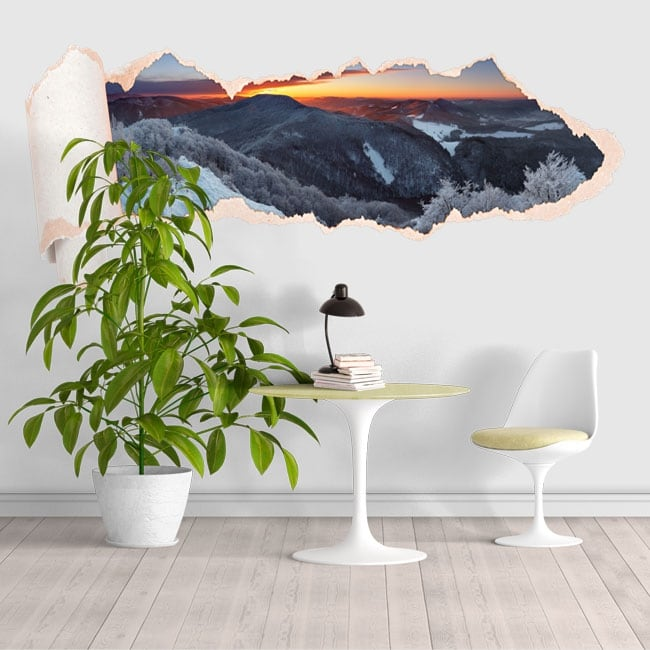Vinyle coucher de soleil montagnes enneigées papier déchiré 3D