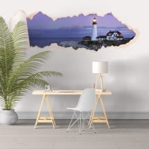 Vinyle papier déchiré 3D phare de Portland