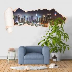 Vinyle New York Manhattan papier déchiré 3D
