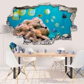 Vinyle murs pêcher dans la mer 3D