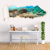 Vinyle poisson de récif corallien papier déchiré 3D