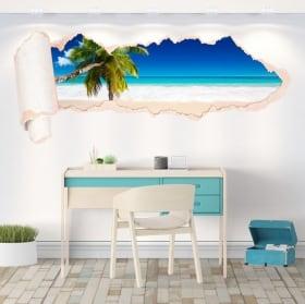 Vinyle palmier sur la plage papier déchiré 3D