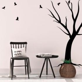 Vinyle décoratif arbre et oiseaux