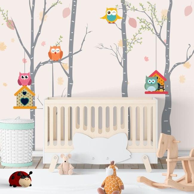 Vinyle pour enfants chouettes dans les arbres