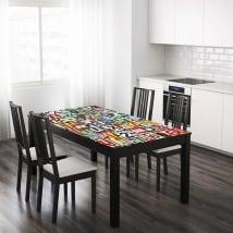 Vinyle pour tables lettres de collage