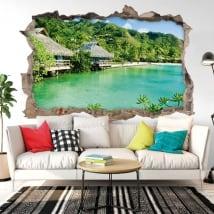 Vinyle décoratif murs bungalows de plage 3d