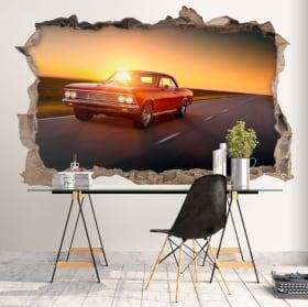 Vinyle décoratif murs voiture rétro 3d