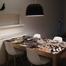 Vinyle pour les tables collage de grunge