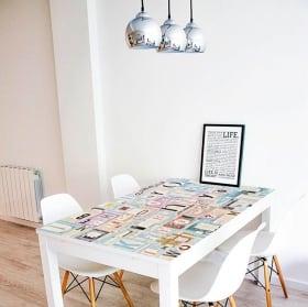 Vinyle décoratif tables collage des lettres