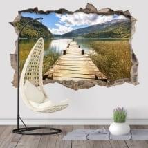 Vinyle murs passerelle sur le lac 3d
