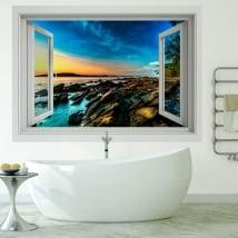 Vinyle murs 3d lever du soleil sur la côte de la mer