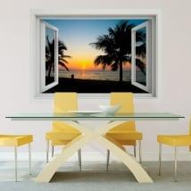 Vinyle décoratif coucher de soleil sur la plage fenêtre 3d