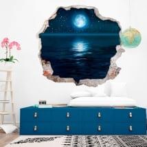 Vinyle murs lune étoiles et la mer 3d