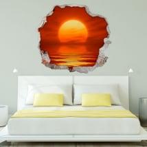 Vinyle décoratif coucher de soleil sur la mer 3d