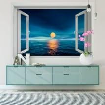 Vinyle décoratif murs coucher de soleil sur la mer 3d