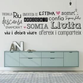 Vinyle décoratif phrases vivent heureux catalan