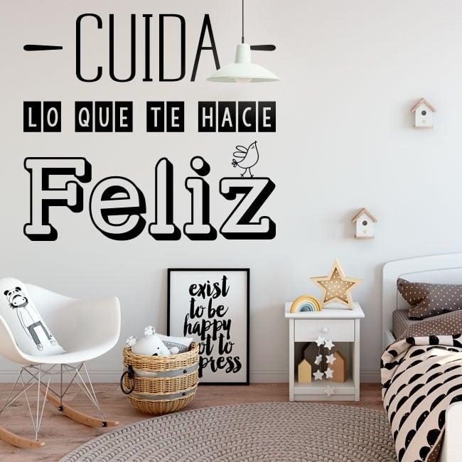Vinyle décoratif phrase prends soin de ce qui te rend heureux