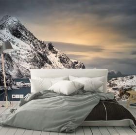 Papiers peints vinyles îles au coucher du soleil lofoten norvège